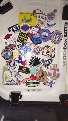 Ceiling of Wrangler Jeep with stickers covering it