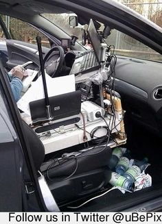 Mobile Car Office...I can relate!  Lol