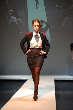 De Vil inspired jacket and skirt suit- with nail embellishments on the shoulders and brusho dyed neckpiece.