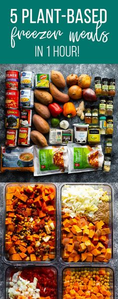 5 vegan freezer meals you can prep in 1 hour! Sharing 5 plant-based recipes, a p… 5 vegan freezer meals you can prep in 1 hour! Sharing 5 plant-based recipes, a printable shopping list and video prep tutorial so you can do the same. Vegetarian Freezer Meals, Vegan Meal Prep, Vegan Dinner Recipes, Vegan Dinners, Whole Food Recipes, Vegetarian Recipes, Healthy Recipes, Meal Prep Freezer, Freezer Recipes