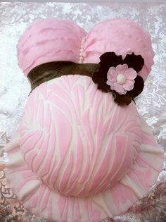 Ruffled Pink Zebra Belly Cake