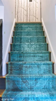 Learn how to install stair runners with this tutorial that uses regular floor runners for a custom look. In a few hours, your stairs will be transformed. Hallway Carpet Runners, Floor Runners, Hall Runner Rugs, Cheap Carpet Runners, Stair Runners, Runner On Stairs, Best Carpet, Diy Carpet, Wall Carpet