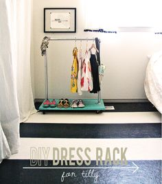 Easy DIY Dress Rack - fun for dress up clothes in kid-friendly spot?
