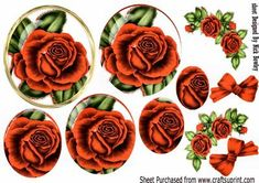 Pretty red rose pyramids with roses bow A4 on Craftsuprint - Add To Basket!
