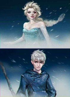 (Frozen/Rise of the Guardians) Elsa/Jack Frost Film Disney, Disney Couples, Disney Art, Cute Couples, Jelsa, Jack Y Elsa, Jack Frost And Elsa, Disney Dream, Disney Love