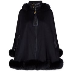 Holland Cooper Gold Label Fur-Trimmed Cape ($6,295) ❤ liked on Polyvore featuring outerwear, blue cape coat, blue hooded cape, blue cape, cape coat and gold cape
