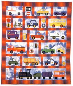 Around Town Baby Child Quilt Pattern by Country Quilter Cars Trucks Trains