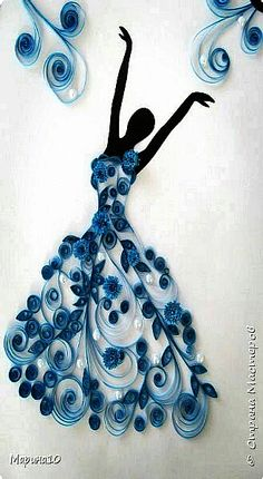 Arts n Craft Ideas - DancerQuilling - lady in blueBeautiful work of quilling SLVH ❤❤❤❤This Pin was discovered by KiaTrying to figure out how you can generate some extra income by doing things you love? How about making some inexpensive DIYs y Neli Quilling, Paper Quilling Cards, Paper Quilling Patterns, Quilled Paper Art, Quilling Paper Craft, Paper Crafts, Hobbies And Crafts, Diy And Crafts, Arts And Crafts