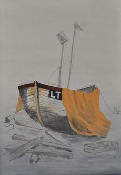 A copy of a watercolour of a Lowestoft fishing boat