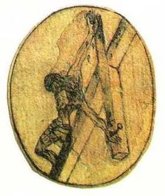 Drawing of the Crucifixion From Above, by John of the Cross 1641.  It influenced Salvador Dali's Christ of St. John of the Cross 1951.