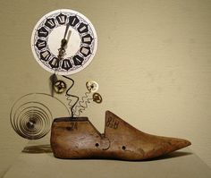 an old shoe last meets a clock