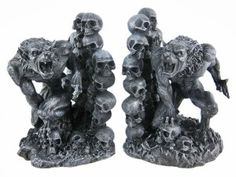 Snarling Werewolf Bookends Gothic Book Ends Wolf Man - Gothic Decor