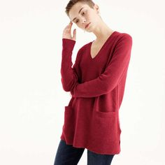 Rank & Style - J.Crew V-neck front-pocket tunic sweater in supersoft yarn #rankandstyle