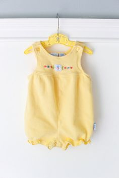 Vintage Yellow Baby Bubble Romper and Matching Shirt,  Ladybug and Flower embroidery, Size 6-9 months. www.etsy.com/shop/Petitpoesy