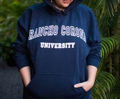 Rancho Corona University Hoodie  cozy nostalgia exclusively at www.robingunn.com