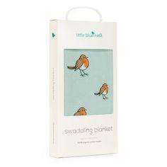 Little Blue Nest Baby - Organic single swaddle blanket - Little Robin. Packaging design