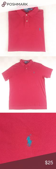 Men's Polo Ralph Lauren shirt Men's custom fit Polo Ralph Lauren shirt in a size XL. The true color was hard to capture with the lighting but it is more of a dark magenta color with teal Polo symbol. In good preloved condition with no visible flaws. Polo by Ralph Lauren Shirts Polos