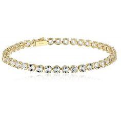 JEWELRY,14k Yellow Gold Round Genuine Aquamarine Tennis Bracelet, 7