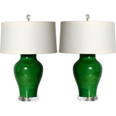 Pair of Green Dennis & Leen Lamps, c. 1960