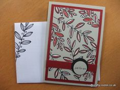 Maureen Rootes - mo@crafty-rootes.co.uk - Stampin Up Lighthearted Leaves stamped in new archival black ink on Sahara Sand cardstock and coloured with a Cherry Cobbler marker and Signo White Gel pen