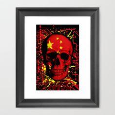Chinese Skull Flag Framed Art Print by seb mcnulty - $32.00