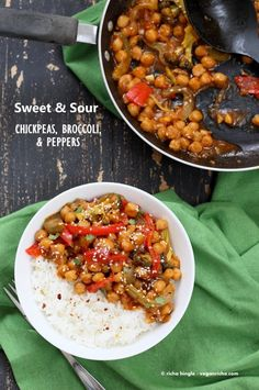 Sweet and Sour Chickpeas, Peppers, and Broccoli. Easy Weeknight One Pot Protein filled Meal. | VeganRicha.com #vegan #glutenfree #chickpeas #recipe