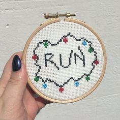 Stranger Things Run Cross Stitch by DinglehopperCrafts on Etsy
