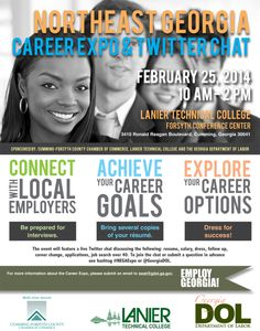 Do you need some new ideas for your career search? GDOL will host a live Twitter chat on Tuesday, February 25th focusing on getting Georgians back to work. It will include topics such as résumés, salary, interviews, follow-up, job search over 40, and career transition.  Members of the public can follow the conversation on Twitter and participate using the hashtag #NEGAExpo or tweeting questions directly to https://twitter.com/GeorgiaDOL.