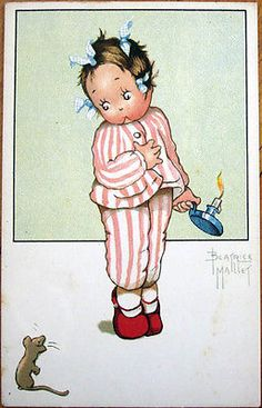 1930s Beatrice Mallet Artist Signed Postcard Mouse Scaring Girl in Pajamas | eBay