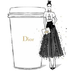 "Megan Hess (@meganhess_official) on Instagram: ""JADIOR my coffee this morning! We Should All be Feminists and drink DIOR."""