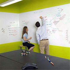 ULAKY 45cm×2m Removable Whiteboard Sticker Rewritable Erase Message Board Decal White Board Surface Sheet for Lessons, Office, Home and School