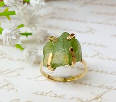 Excited to share the latest addition to my #etsy shop: Raw Peridot Ring, Raw Stone Ring, Peridot Birthstone Ring, August's Birthstone Ring, Gold Solitaire Ring, Gift For Her, Birthstone Jewelry http://etsy.me/2Exbubf