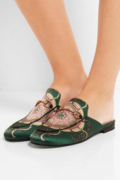 Heel measures approximately 10mm/ 0.5 inches Tonal-green, pink and black satin  Slip on Made in Italy