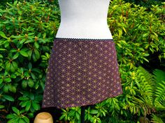 Small  Burgundy and Gold Flower of Life Mini Skirt  Hand by Onanya, $48.00
