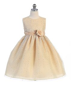 Look what I found on #zulily! Taupe Embellished Fit & Flare Dress - Toddler & Girls #zulilyfinds