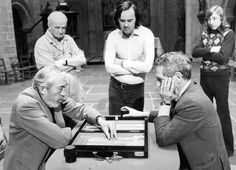 Director John Huston and Paul Newman play a game of backgammon  1973