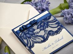 Navy Lace Ecru Wedding Invitation, Pocket Fold Wedding Invitations , Vintage Wedding invitation