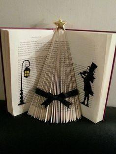 Folded book art victorian christmas tree black ribbon xmas: