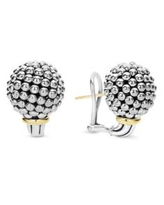 LAGOS Sterling Silver Large Caviar Bead Stud Earrings with 18K Gold | Bloomingdale's