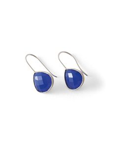 Poetry - Cornflower Blue And Silver Earrings - These pretty teardrop shaped earrings have a striking cornflower blue stone. Cut with many facets they sparkle and catch the light.