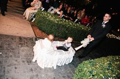 Young (14-month- & 8-month-old) flower girl and ring bearer did great in DIY Fisher-Price wedding wagon.
