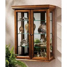 wall mounted curio cabinets mirror - Google Search