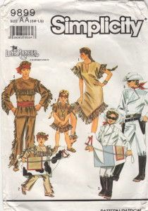 Simplicity 9899 Lone Ranger Tonto Scout and  Horse Silver Adult Costume Pattern Mens Womens Sewing Pattern by patterngate.com