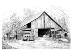 Ink Sketches of Barns   The Barn - Short Mountain Sancturary, Liberty, Tenn.