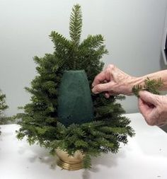 Holiday decorations as close as your back yard | mini Christmas tree made with oasis floral foam......OK.... Why have I never thought of doing this,with many of us having fake trees,wouldn't it be nice to still have that fresh pine scent in the house!!!!!!!!
