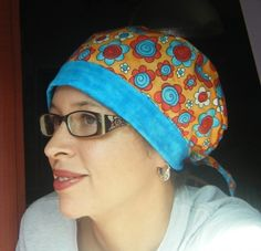 See a chemo hat / cap with this sewing pattern for a scrub hat or chemo cap.