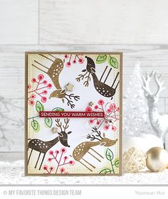 Hello crafty friends, welcome to the My Favorite Things October Release Replay Challenge! Today our team is taking a fresh look at our most recent release with inspiring ideas and innovative takes … Christmas Card Crafts, Christmas Wishes, Christmas Projects, Handmade Christmas, Christmas Cards, Christmas Deer, Merry Christmas, Pretty Pink Posh, Hand Made Greeting Cards