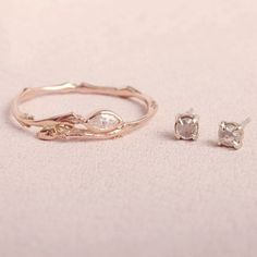 Marquise Twig Ring & Sleeping Beauty Earrings - available at Catbird.