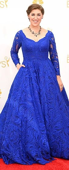 Big Bang Theory's Mayim Bialik looked beautiful in a vibrant blue lace gown with long sleeves and a full skirt at the 2014 Emmys.