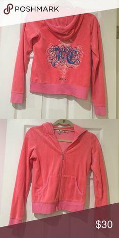 Juicy Couture kids hoodie Juicy Couture kids zip up hoodie in pink! In gently used condition Juicy Couture Shirts & Tops Sweatshirts & Hoodies